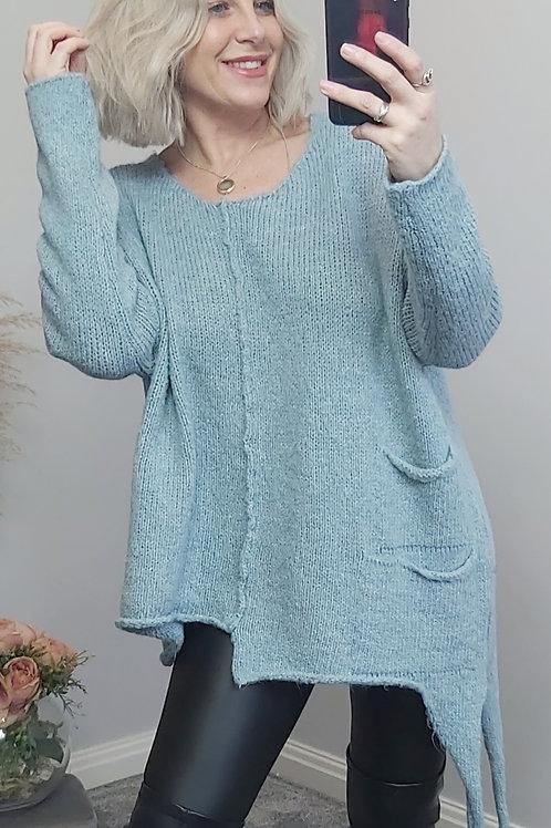 Blue Knitted Asymmetric Jumper