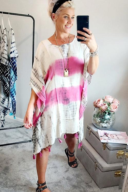 Pink Oversized Tie Dye Kimono Tassel Top