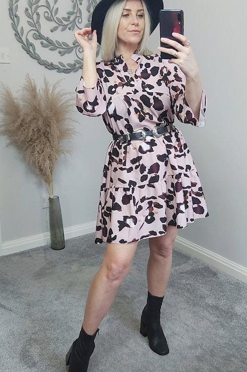 Pastel Pink Leopard Smock Dress