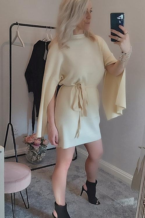 Slit Arm Longline Jumper Dress In Cream