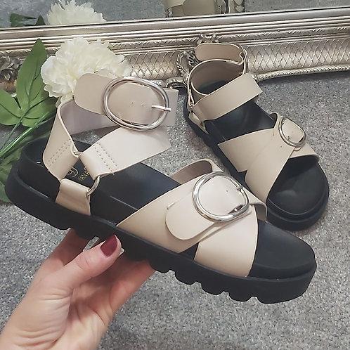 Beige Ankle Buckle Gladiator Sandals