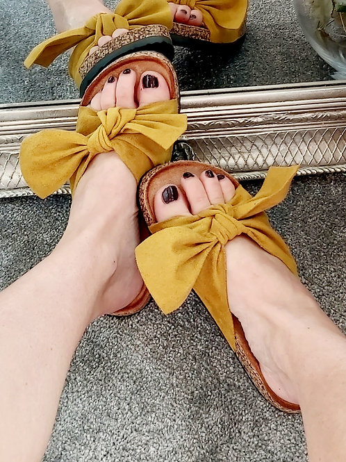 Mustard Suede Bow Sliders
