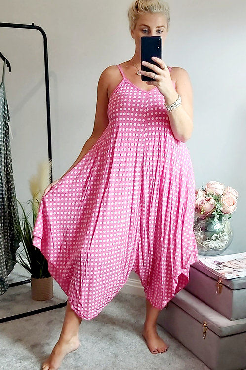 Polkadot Spaghetti Strap Floaty Jumpsuit In Pink