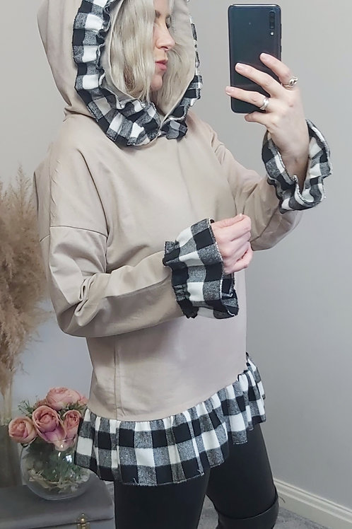 Beige Checked Frill Hoodie Top