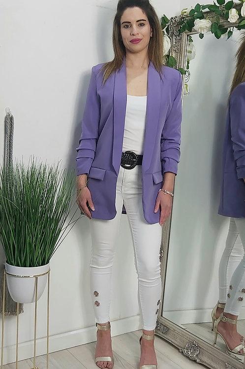 Lilac Ruffle Sleeve Open Blazer