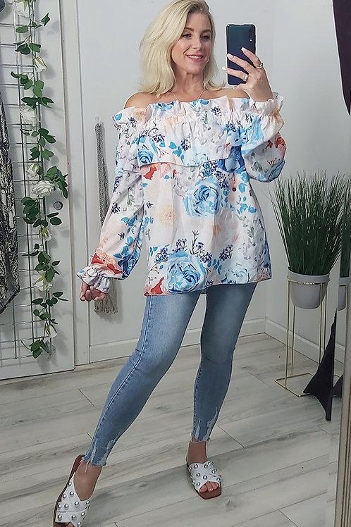 Blue Floral Bandeau Top