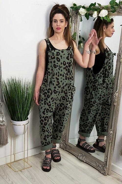 Khaki Leopard Slouch Oversized Cotton Dungarees