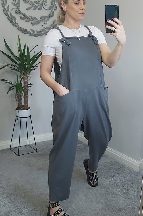 Slouch Oversized Cotton Dungarees In Charcoal