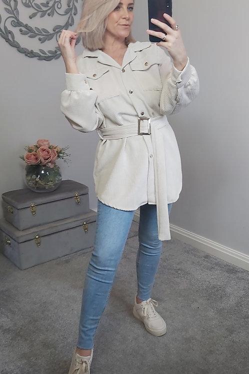 Cream Corduroy Belt Shirt