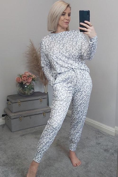 White Grey Leopard Jogger Loungewear Set