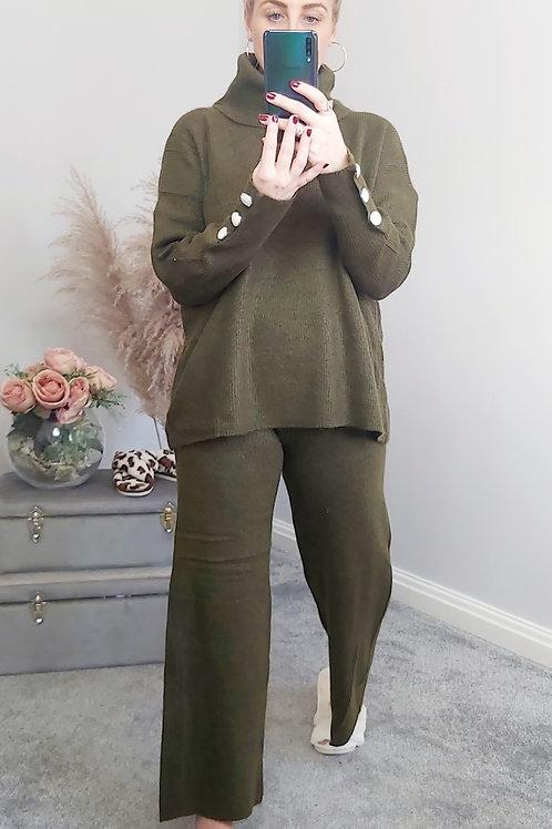 Khaki Pearl Detail Loungewear Set