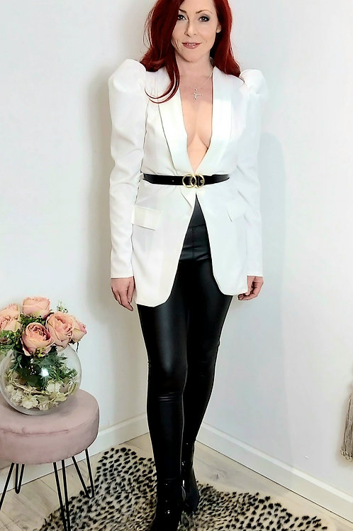 White Ruffle Sleeve Belted Blazer