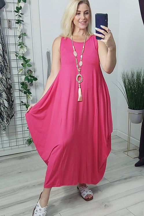 Stretch Parachute Dress In Fuchsia Pink