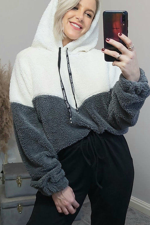 Grey Fleece Teddy Hoodie