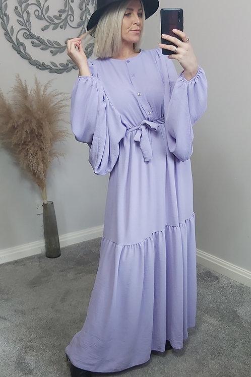 Lilac Grecian Batwing Maxi Dress