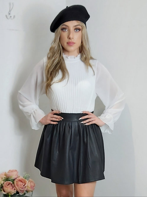 White Pleat Long Sleeve Blouse