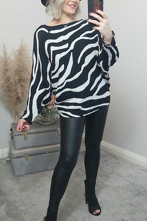 Black & White Zebra Knitted Jumper