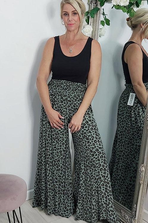 Leopard Wide Leg Palazzo Trousers In Khaki
