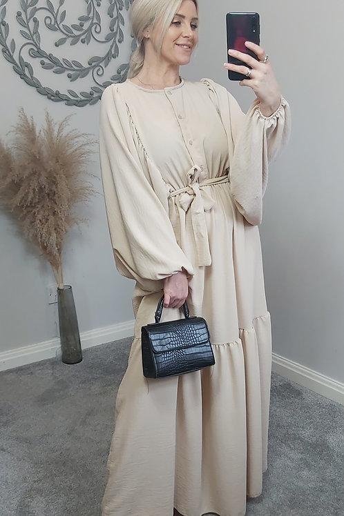 Cream Grecian Batwing Maxi Dress