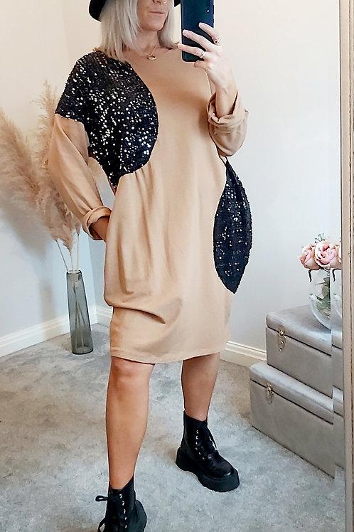 Beige Sequin Jumper Dress