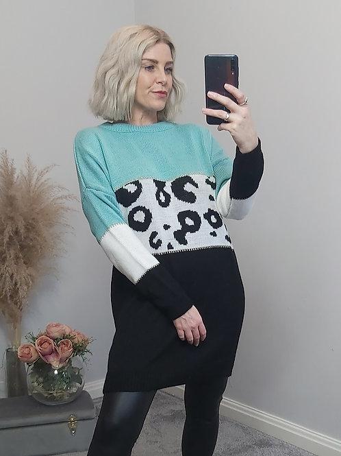Blue Black Leopard Knitted Jumper