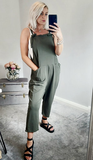 Slouch Oversized Cotton Dungarees In Khaki