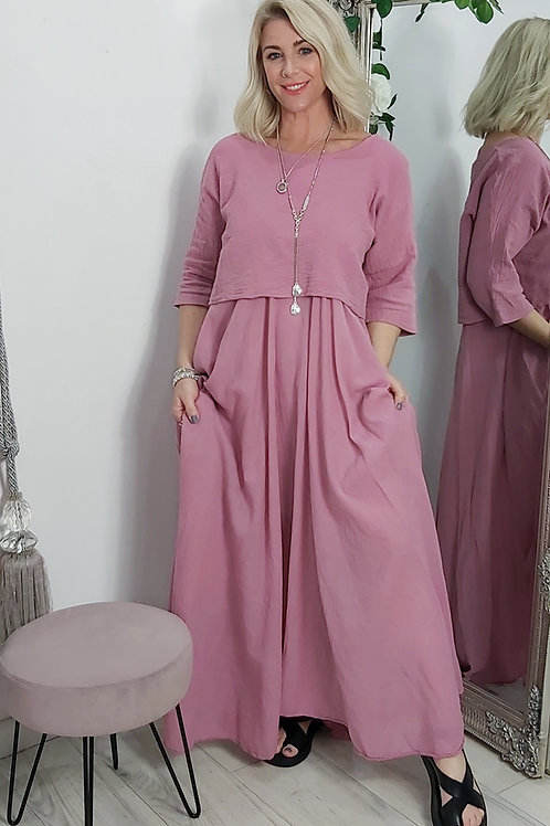 Full Skirt Floaty Tee Dress In Salmon Pink