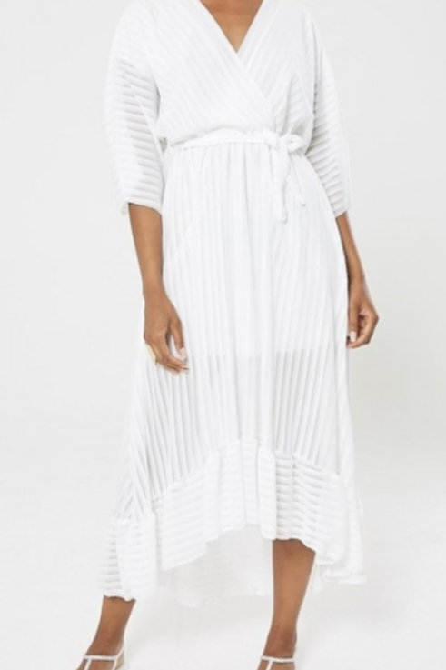 White Tie Waist Frill Maxi Dress