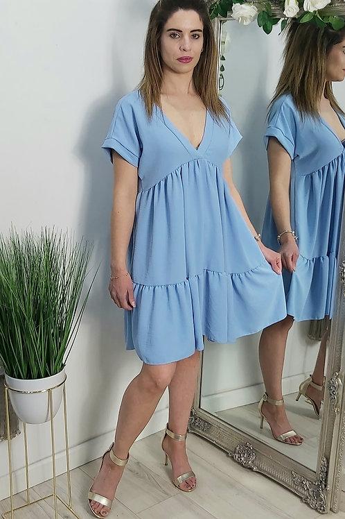 Blue Tiered Mini Smock Dress