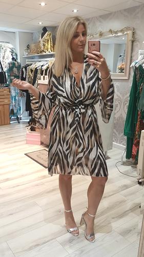 725215cbfb12 Black And Beige Zebra Print Chiffon Midi Dress