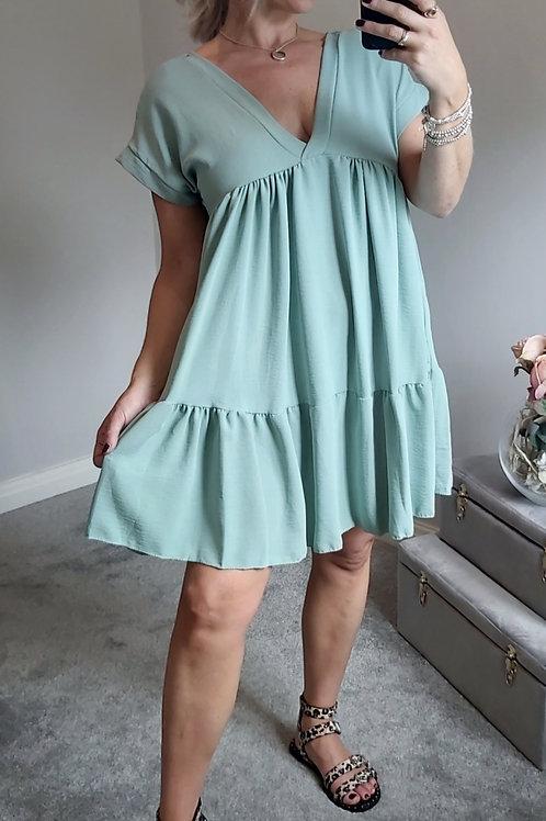 Block Smock Dress In Green