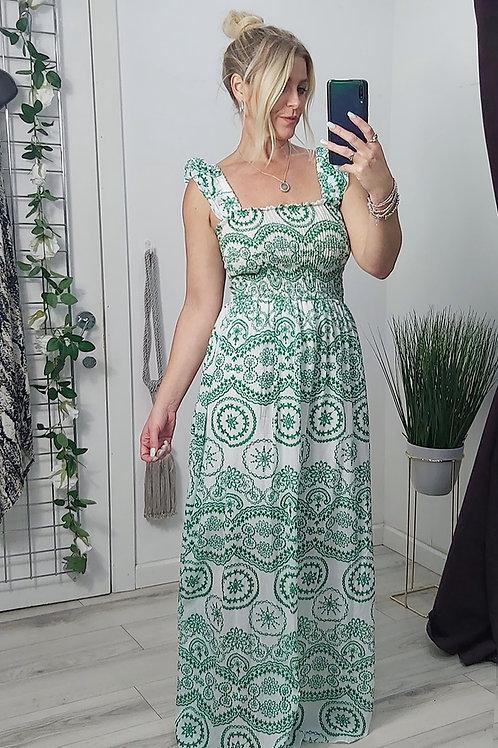 Green Paisley Ruffle Strap Maxi Dress