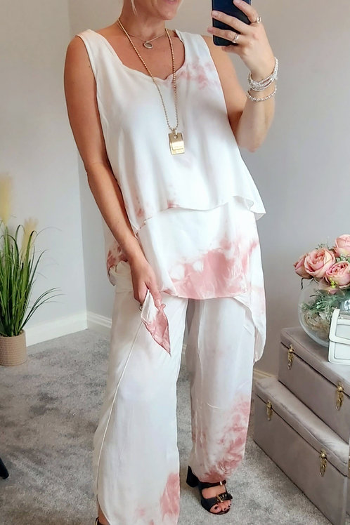 Pink Tie Dye 3 Piece Floaty Trouser Set
