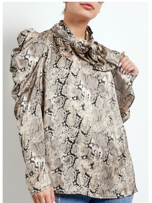 Beige Snake Print Pussy Bow Blouse