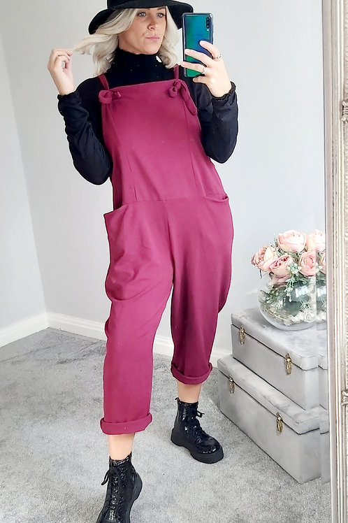Slouch Oversized Cotton Dungarees In Wine