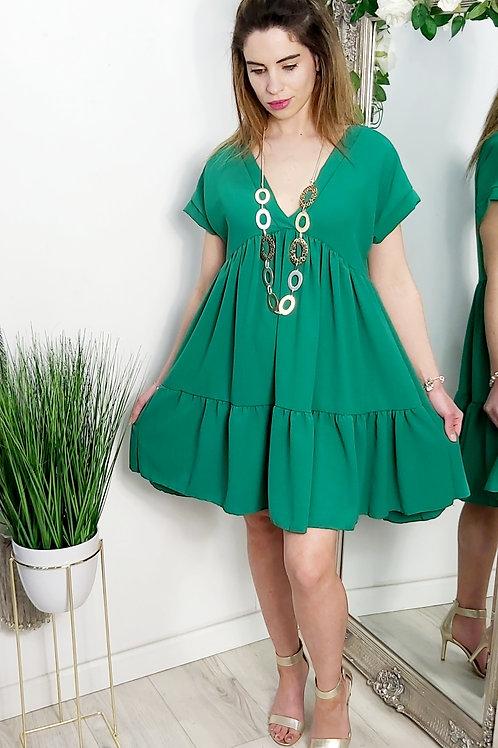 Green Tiered Mini Smock Dress