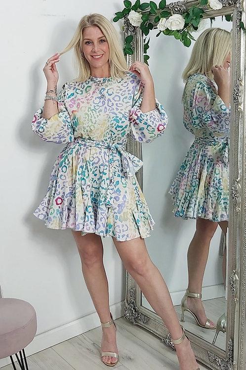 Rainbow Leopard Mini Dress