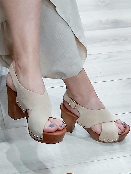 Cream Light Weight Stud Cross Over Heels