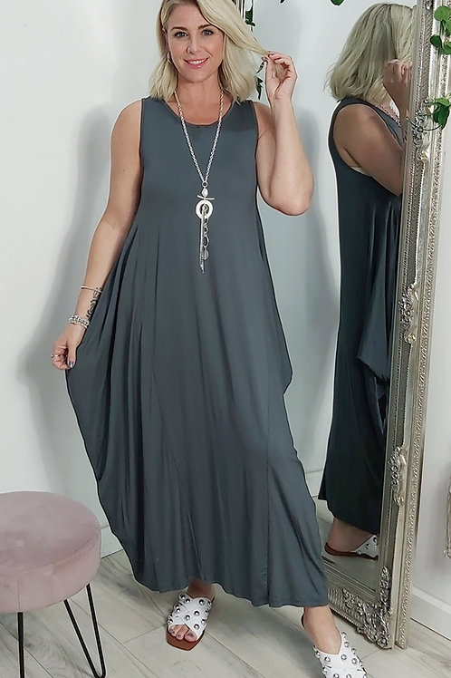 Stretch Parachute Dress In Charcoal Grey