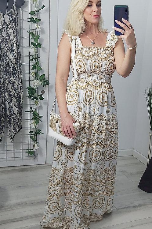 Gold Paisley Ruffle Strap Maxi Dress