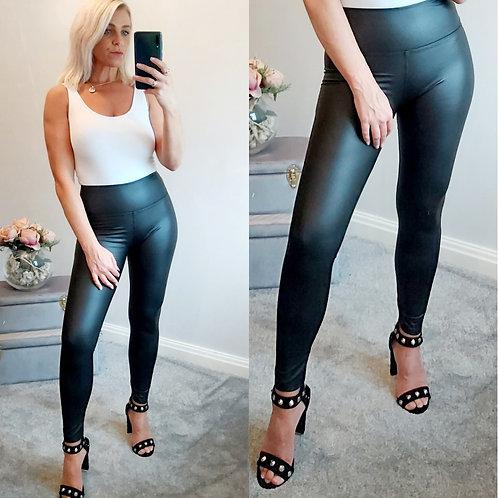 High Waist Sleek PU Leggings In Black