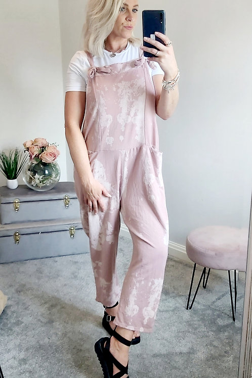 Slouch Oversized Cotton Dungarees In Pink Smudge