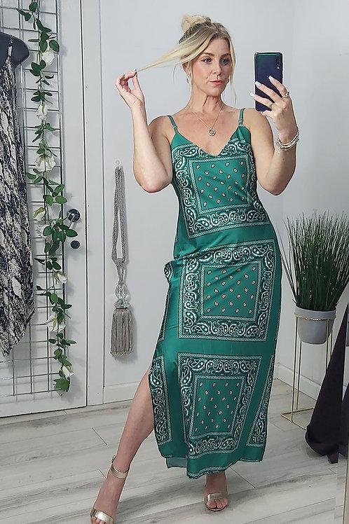 Green Bandana Print Satin Maxi Dress