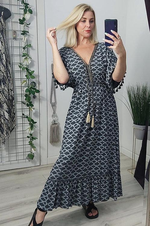 Grey Print Grecian Tassel Maxi Dress