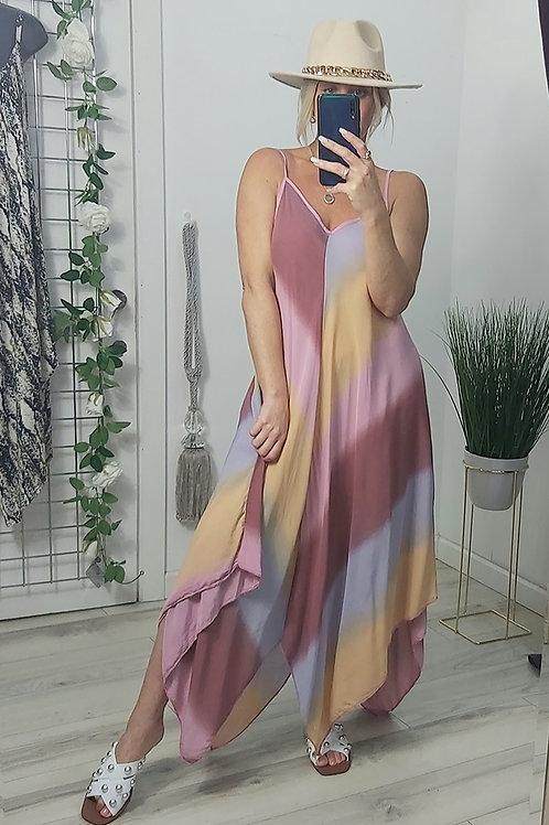 Pink Colour Block Harem Maxi Dress