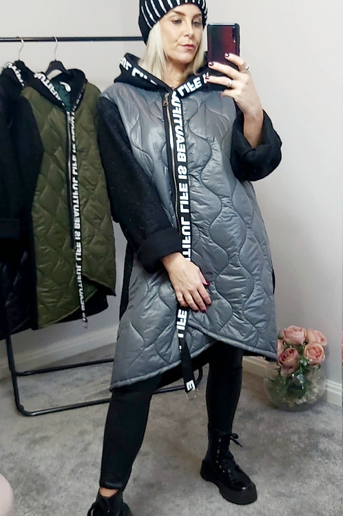 Grey Quilted Long Sleeved Zip Up Coat