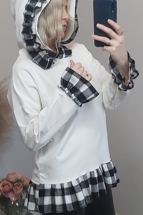 White Checked Frill Hoodie Top