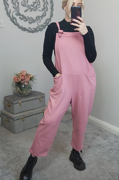 Slouch Oversized Cotton Dungarees In Salmon Pink