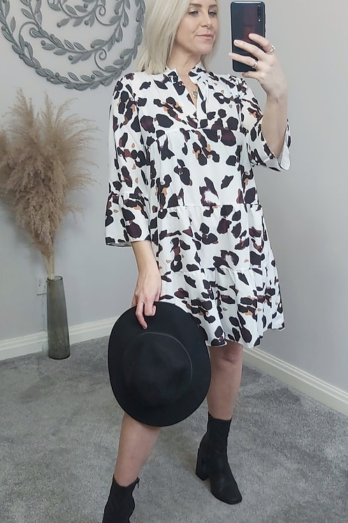 White Leopard Smock Dress