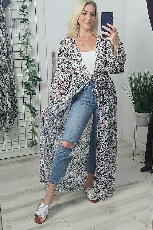 Pink Leopard Open Maxi Kimono